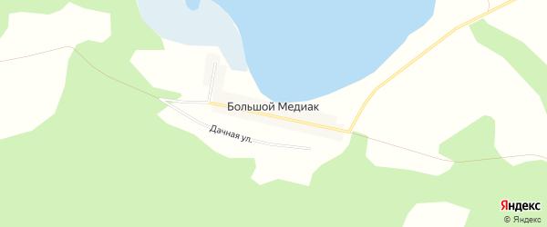 Карта деревни Большого Медиака в Челябинской области с улицами и номерами домов