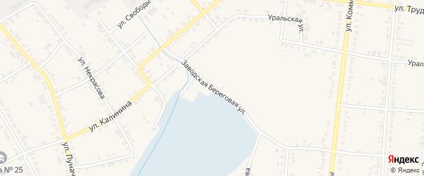 Заводская Береговая улица на карте Касли с номерами домов