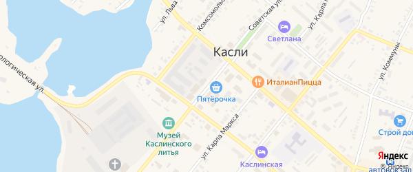 Советская улица на карте железнодорожной станции Маук с номерами домов