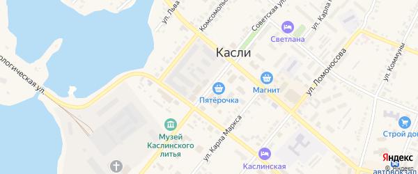 Советская улица на карте Касли с номерами домов