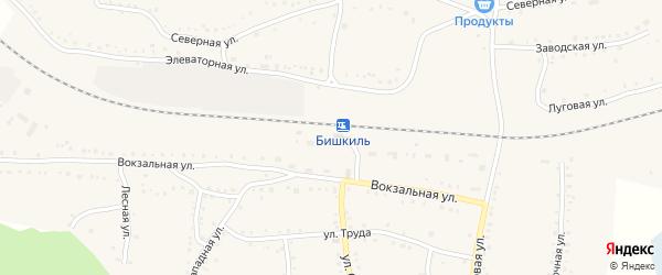 Улица ДОС-2 на карте поселка Бишкиля с номерами домов