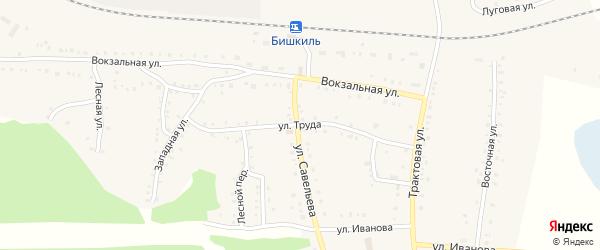 Улица Труда на карте поселка Бишкиля с номерами домов