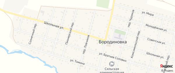 Переулок Ловчикова на карте села Бородиновки с номерами домов