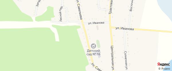Улица Савельева на карте поселка Бишкиля с номерами домов