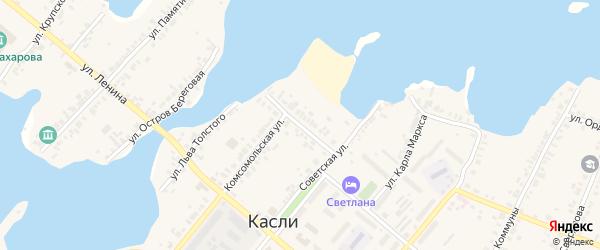 Советский переулок на карте Касли с номерами домов