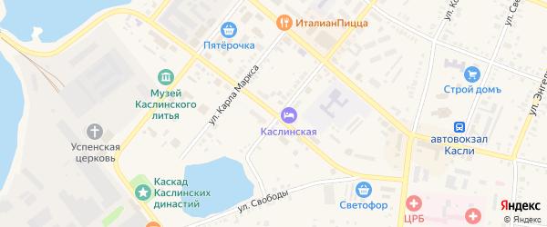 Улица Революции на карте Касли с номерами домов