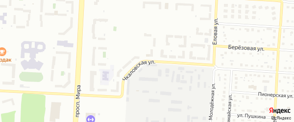 Чкаловская улица на карте Снежинска с номерами домов