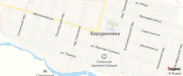 Площадь Красных Партизан на карте села Бородиновки с номерами домов