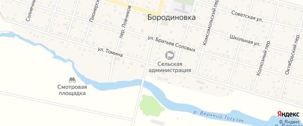 Улица Томина на карте села Бородиновки с номерами домов