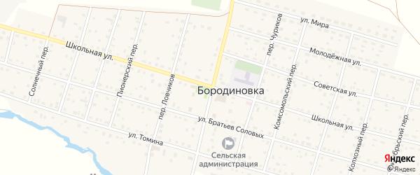 Школьная улица на карте села Бородиновки с номерами домов