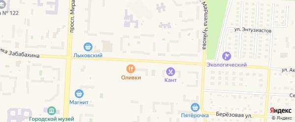 Улица Академика Забабахина на карте Снежинска с номерами домов