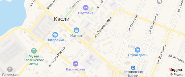 Улица Ломоносова на карте Касли с номерами домов