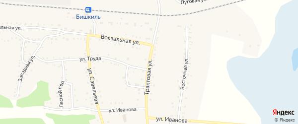 Трактовая улица на карте поселка Бишкиля с номерами домов