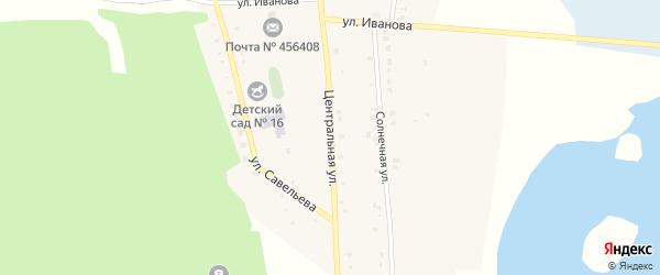 Центральная улица на карте поселка Бишкиля с номерами домов