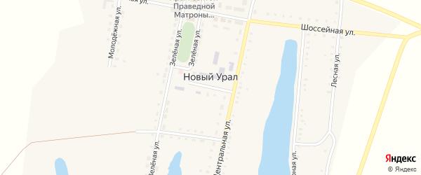 Школьный переулок на карте поселка Нового Урала с номерами домов