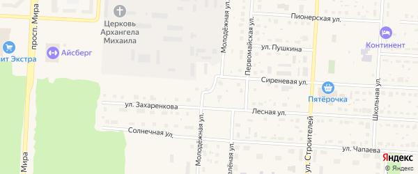Молодежная улица на карте Снежинска с номерами домов