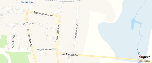 Восточная улица на карте поселка Бишкиля с номерами домов