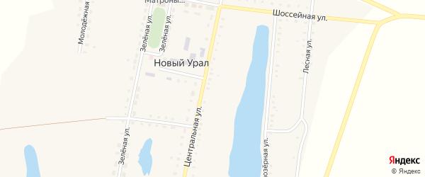 Шоссейная улица на карте поселка Нового Урала с номерами домов