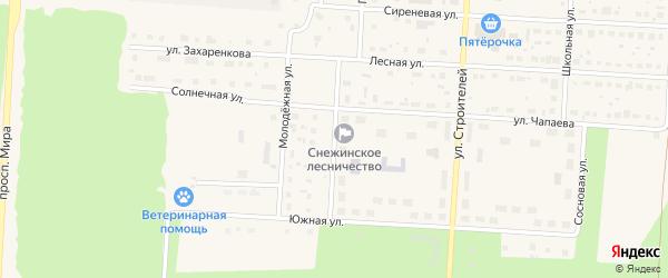 Зеленая улица на карте Снежинска с номерами домов