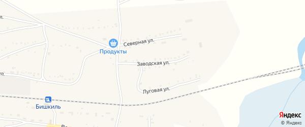 Заводская улица на карте поселка Бишкиля с номерами домов