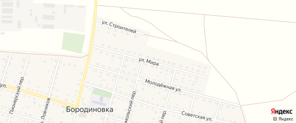 Улица Мира на карте села Бородиновки с номерами домов