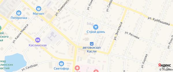 Переулок Некрасова на карте Касли с номерами домов