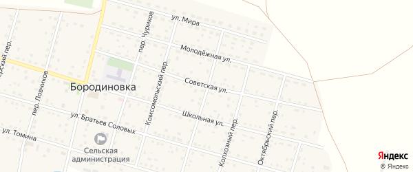 Советская улица на карте села Бородиновки с номерами домов