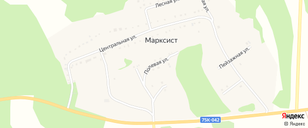Полевая улица на карте деревни Марксиста с номерами домов
