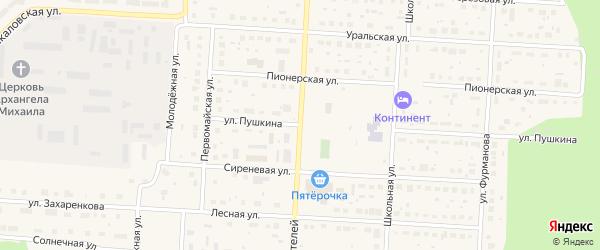 Улица Пушкина на карте Снежинска с номерами домов