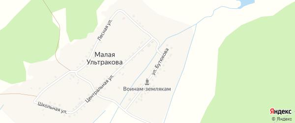 Лесная улица на карте деревни Малая Ультракова с номерами домов