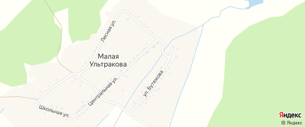 Улица им Талипа Кулуева на карте деревни Малая Ультракова с номерами домов