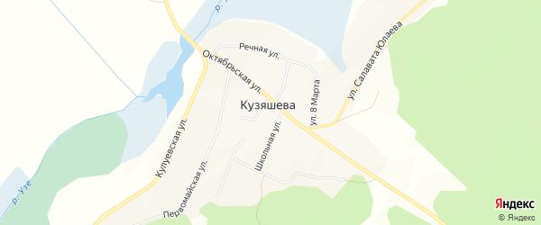 Карта деревни Кузяшева в Челябинской области с улицами и номерами домов