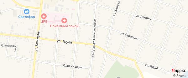 Улица Братьев Блиновсковых на карте Касли с номерами домов