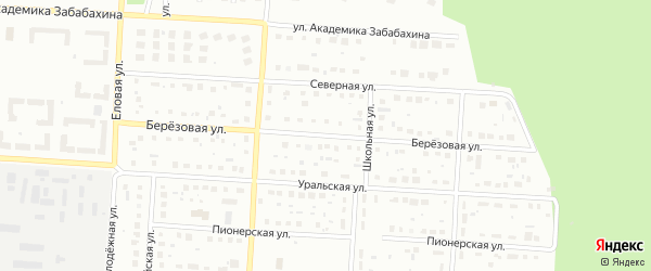 Березовая улица на карте Снежинска с номерами домов