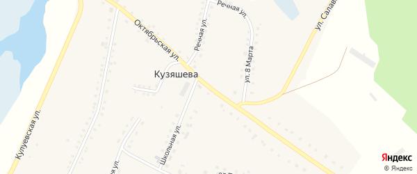 Октябрьская улица на карте деревни Кузяшева с номерами домов