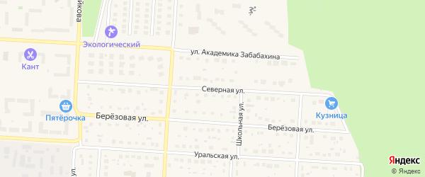 Северная улица на карте Снежинска с номерами домов