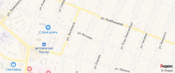 Улица Ретнева на карте Касли с номерами домов
