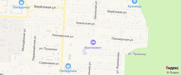 Пионерская улица на карте Снежинска с номерами домов