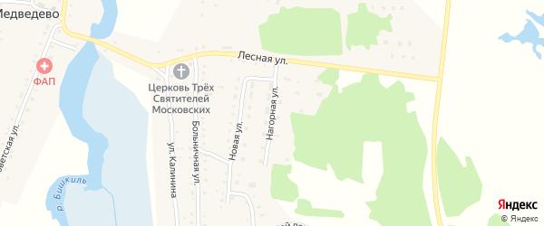 Нагорная улица на карте села Медведево с номерами домов