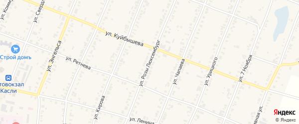 Улица Розы Люксембург на карте Касли с номерами домов