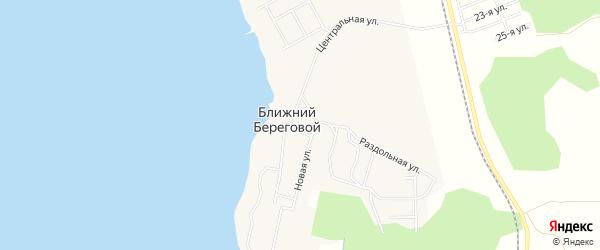 Карта Ближнего Берегового поселка города Снежинска в Челябинской области с улицами и номерами домов