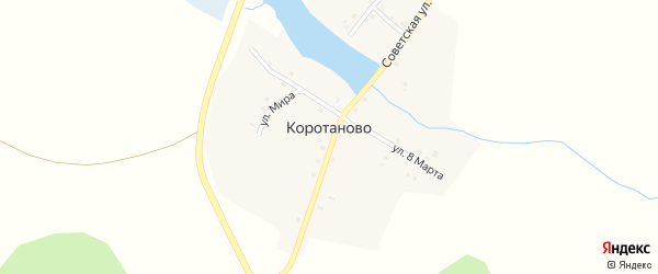 Советская улица на карте деревни Коротаново с номерами домов