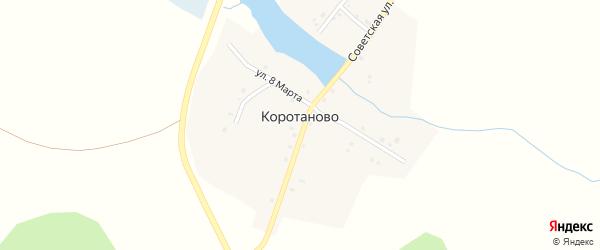 Лесная улица на карте деревни Коротаново с номерами домов