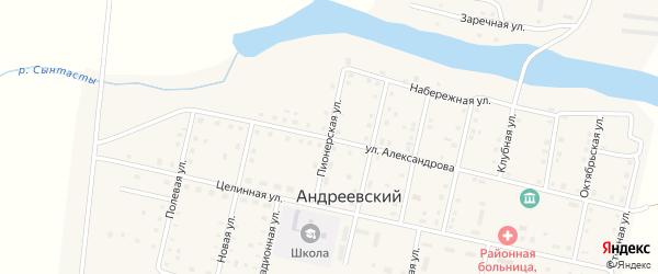 Пионерская улица на карте Андреевского поселка с номерами домов