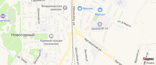 Технологический проезд на карте Новогорного поселка с номерами домов