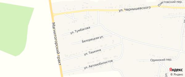Белорецкая улица на карте Пласта с номерами домов