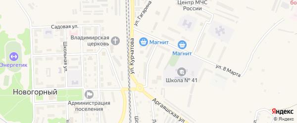 Железнодорожная улица на карте Новогорного поселка с номерами домов
