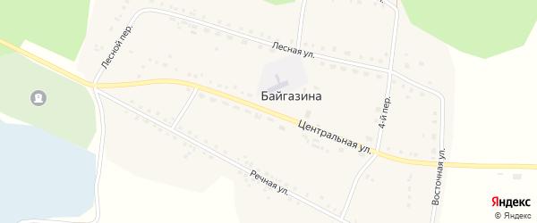 Центральная улица на карте деревни Байгазина с номерами домов