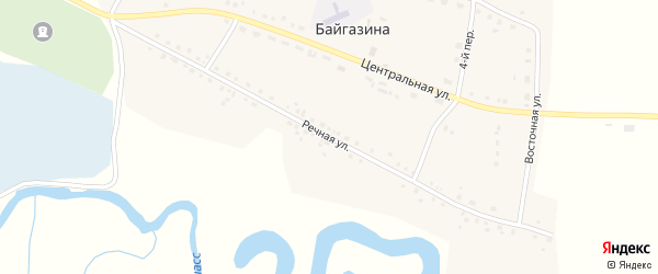 Речная улица на карте деревни Байгазина с номерами домов