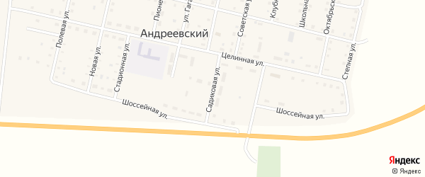 Садиковая улица на карте Андреевского поселка с номерами домов